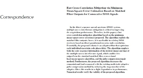 مقاله Fast Cross-Correlation Mitigation via Minimum Mean-Square Error Estimation Based on Matched Filter Outputs for Consecutive DSSS Signals به همراه ترجمه