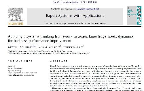 ژورنال Applying a systems thinking framework to assess knowledge assets dynamics for business performance improvement به همراه ترجمه