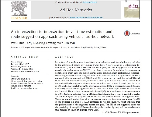ژورنال An intersection-to-intersection travel time estimation and route suggestion approach using vehicular ad-hoc network به همراه ترجمه