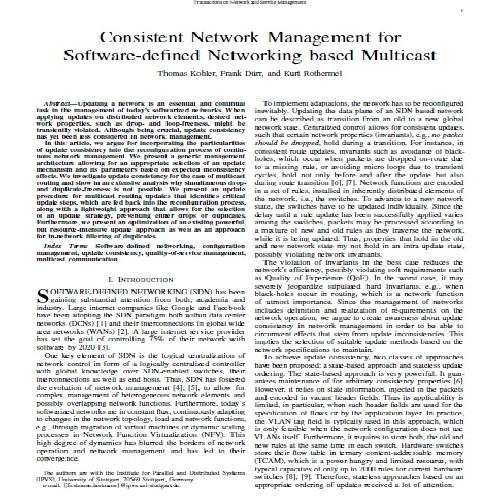 ژورنال Consistent Network Management for  Software-defined Networking based Multicast به همراه ترجمه