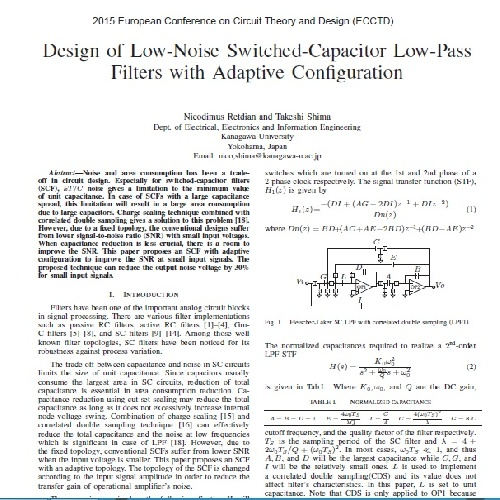 ژورنال Design of Low-Noise Switched-Capacitor Low-Pass Filters with Adaptive Configuration به همرا ترجمه