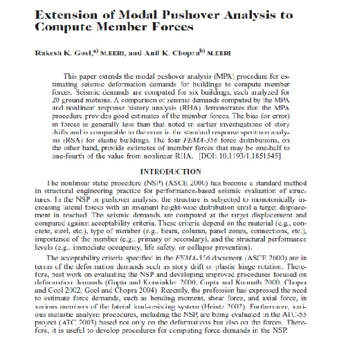 ژورنال Extension of Modal Pushover Analysis to  Compute Member Forces به همراه ترجمه