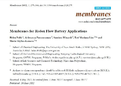 ژورنال Membranes for Redox Flow Battery Applications به همراه ترجمه