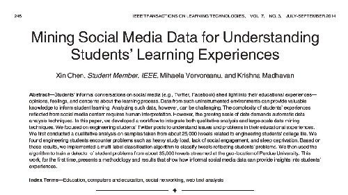 خلاصه ی کلی مقاله ی Mining Social Media Data for Understanding  Students' Learning Experiences