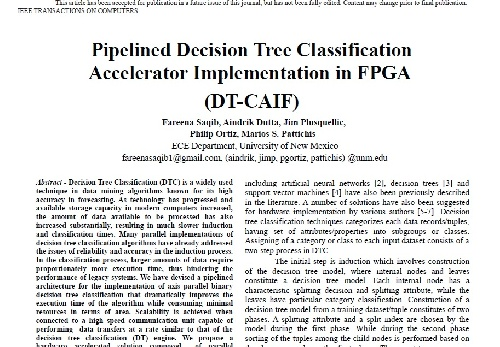 ژورنال  Pipelined Decision Tree Classification Accelerator Implemention in FPGA به همراه ترجمه