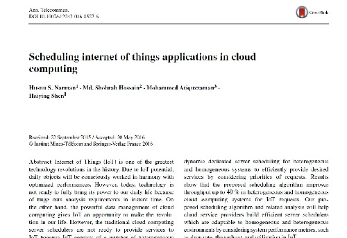 ژورنال Scheduling internet of things applications in cloud  Computing به همراه ترجمه