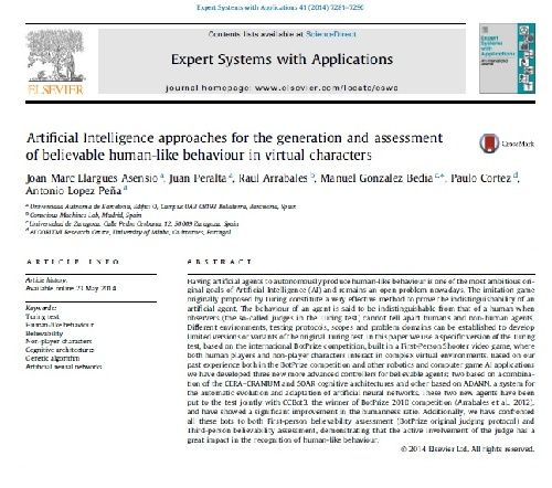 مقاله Artificial Intelligence approaches for the generation and assessment of believable human-like behaviour in virtual characters