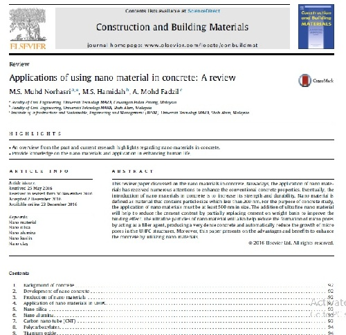 مقاله Applications of using nano material in concrete: A review به همراه ترجمه